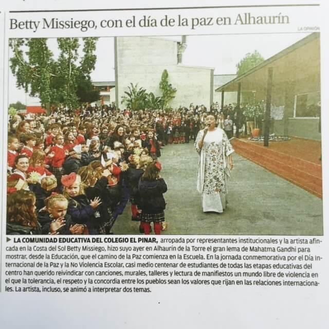 Betty Missiego y Día de la Paz en El Pinar y La OPinión