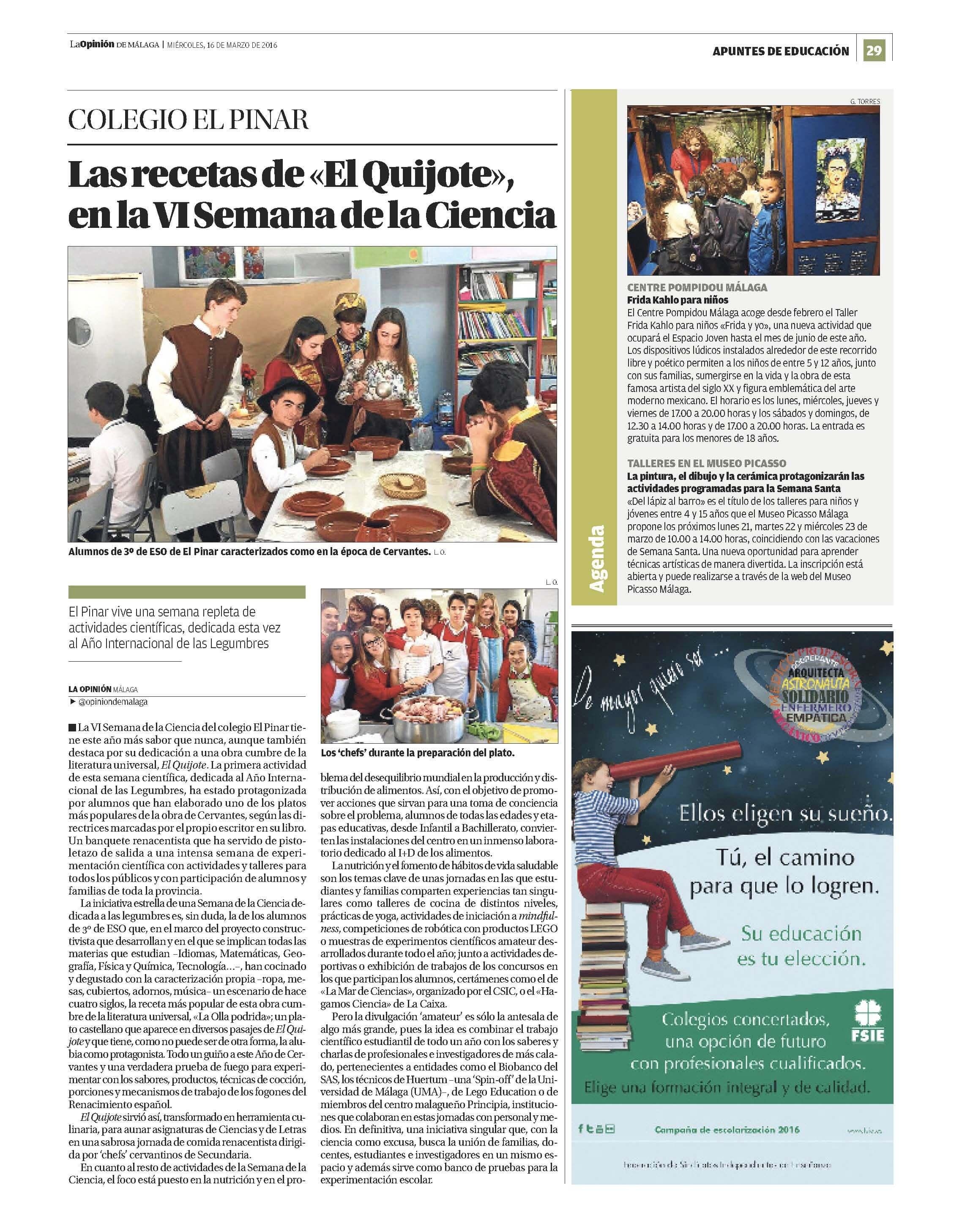 Reportaje de la Semana de la Ciencia y La Opinión de Málaga y colegio privado El Pinar