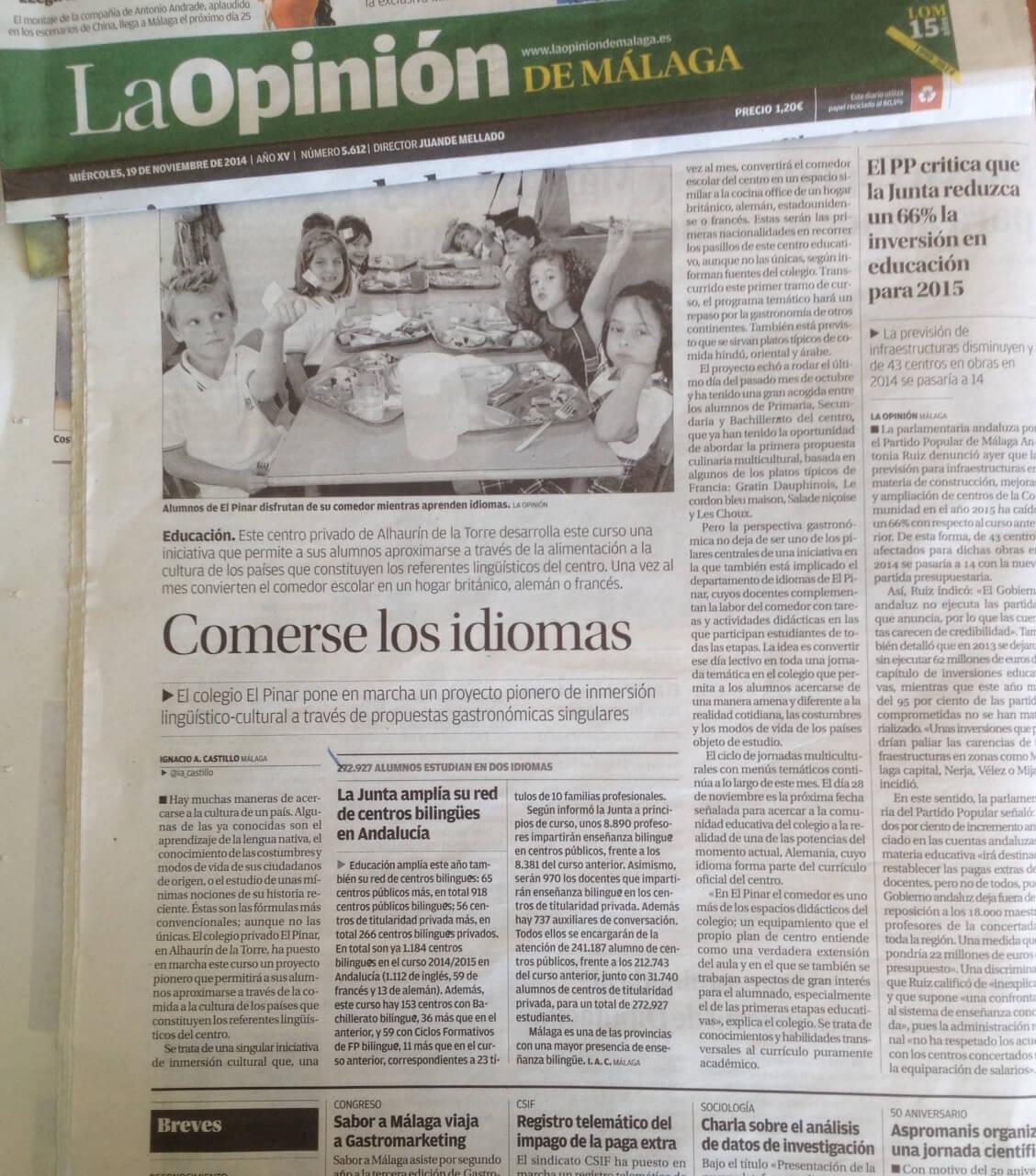 Multiculturalidad en la mesa. La Opinión de Málaga. Alimentación sana. Comedores escolares